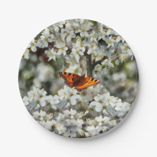 Butterfly on Blossom Paper Plate