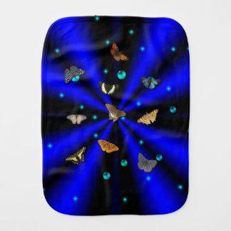 Butterfly on Blue Black Rainbow Burp Cloth