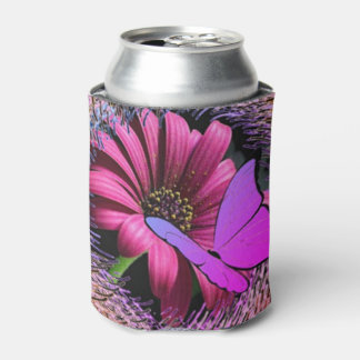 Butterfly on Daisy Can Cooler