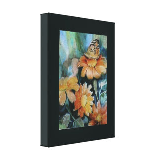 Butterfly on Daisy Gallery Wrapped Canvas