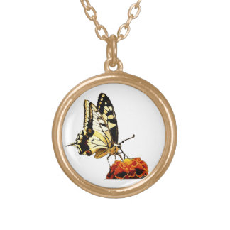 Butterfly on Flower Gold Plated Necklace