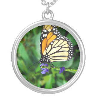 Butterfly on Flower in Garden Silver Plated Necklace