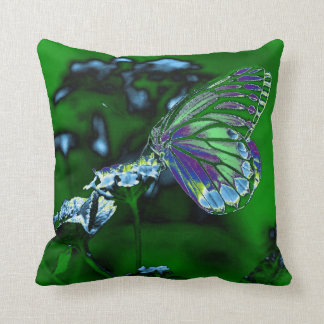 Butterfly on flower - Negative Photo Throw Cushions