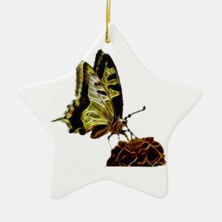 Butterfly on Flower neon Ceramic Ornament