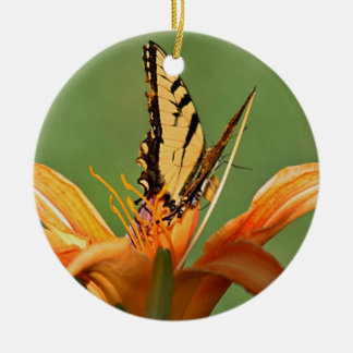 Butterfly on flower round ceramic decoration