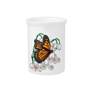 Butterfly on flowers pitcher