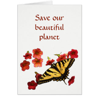 Butterfly on Flowers Save Our Planet Blank Card