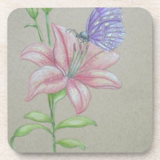 butterfly on lily coaster