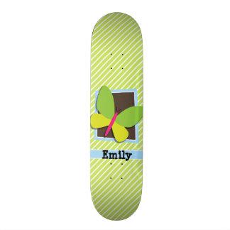 Butterfly on Lime Green & White Stripes Skate Board Decks