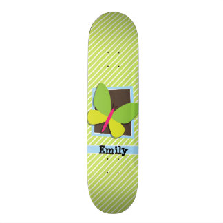 Butterfly on Lime Green & White Stripes Skateboard Deck
