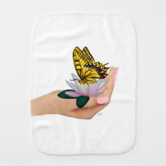 Butterfly on Lotus Bloom in Hand Burp Cloth