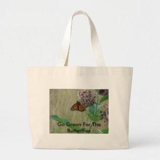 Butterfly On Milkweed Flower, Go Green For The ... Jumbo Tote Bag