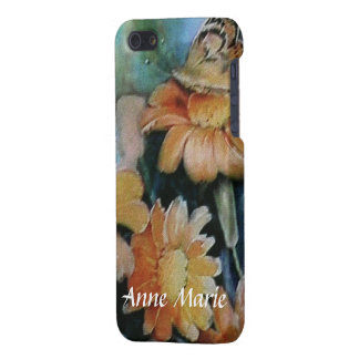 Butterfly on Orange Daisies with Your Name iPhone 5/5S Covers