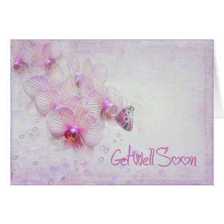 butterfly on orchid for get well greeting card