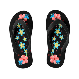 Butterfly on Pink and Blue Flowers Kids Flip Flops Thongs