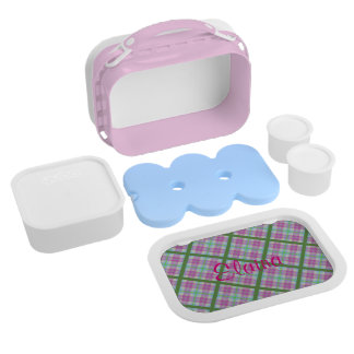 Butterfly on Pink and Green Plaid Lunch Boxes