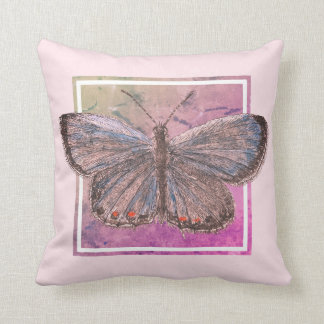 Butterfly on Pink Background Cushion