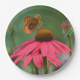 Butterfly On Pink Cone-flower 9 Inch Paper Plate