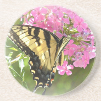 Butterfly on Pink Flowers Beverage Coasters