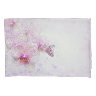 butterfly on pink orchid with bubbles pillowcase