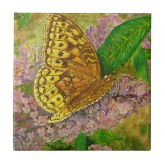Butterfly on purple butterfly bush Buddleia david Ceramic Tile