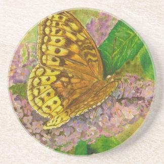 Butterfly on purple butterfly bush Buddleia david Coaster