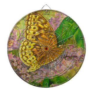Butterfly on purple butterfly bush Buddleia david Dartboard