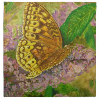 Butterfly on purple butterfly bush Buddleia david Napkin