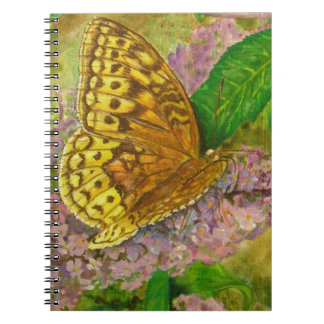 Butterfly on purple butterfly bush Buddleia david Notebooks