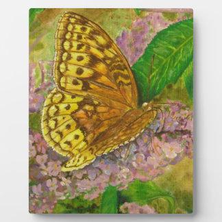 Butterfly on purple butterfly bush Buddleia david Plaque