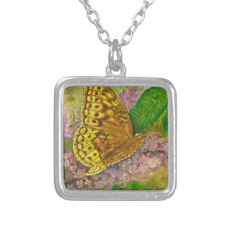 Butterfly on purple butterfly bush Buddleia david Silver Plated Necklace