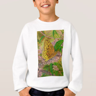 Butterfly on purple butterfly bush Buddleia david Sweatshirt