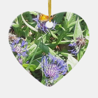 Butterfly on Purple Coneflower Ceramic Ornament