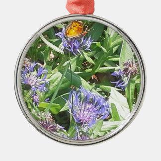 Butterfly on Purple Coneflower Metal Ornament