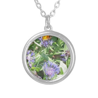 Butterfly on Purple Coneflower Silver Plated Necklace