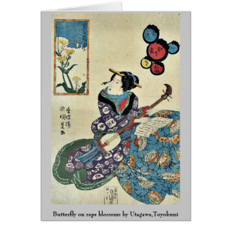 Butterfly on rape blossoms by Utagawa,Toyokuni Greeting Cards