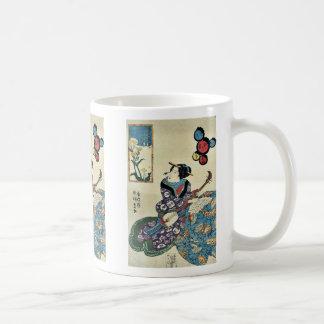 Butterfly on rape blossoms by Utagawa,Toyokuni Coffee Mug