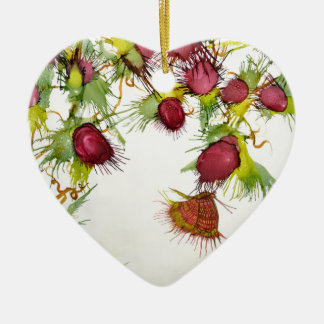 Butterfly on Red Berries Ceramic Heart Decoration