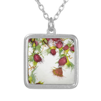 Butterfly on Red Berries Silver Plated Necklace