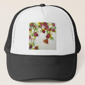 Butterfly on Red Berries Trucker Hat