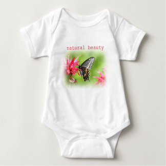 Butterfly on red flowers baby bodysuit