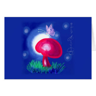 Butterfly on Red Mushroom Note Card