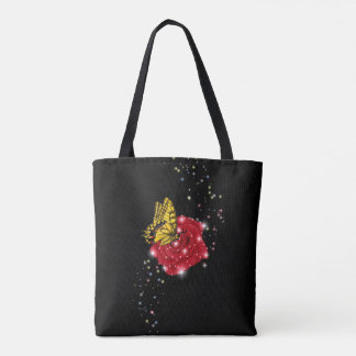 Butterfly on red Rose with Raindrops and Stars Tote Bag