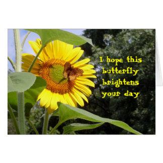 Butterfly on Sunflower Blank Card