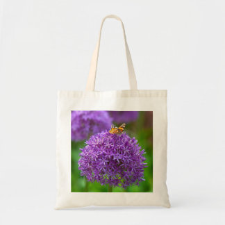 Butterfly on the Allium flower Tote Bag