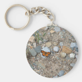 Butterfly on the Rocks Basic Round Button Key Ring