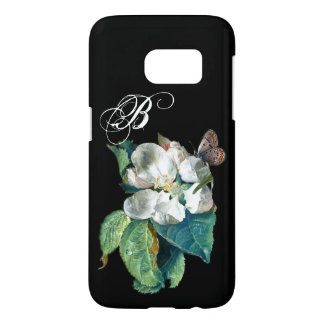 BUTTERFLY ON THE WHITE FLOWER , FLORAL MONOGRAM