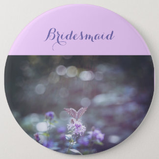 Butterfly on the wild flowers 6 cm round badge