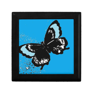Butterfly on Turquoise Small Square Gift Box