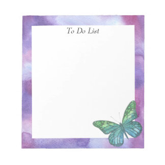 Butterfly on Violet Watercolor Notepad